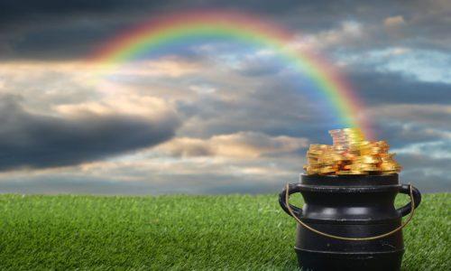 closeup pot of gold with rainbow